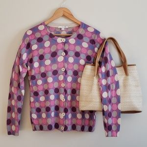 Boden Graphic Circles Cardigan Sweater Size 12